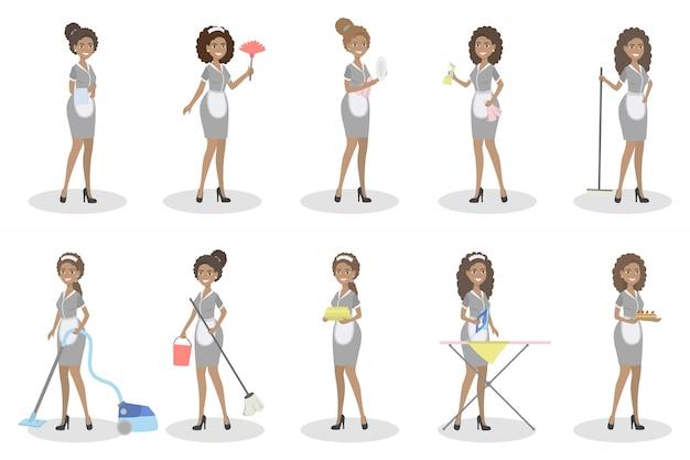 Conjunto de empregadas domésticas. mulheres com equipamentos de limpeza.
