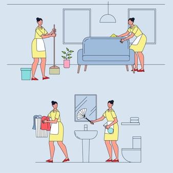 Conjunto de empregadas domésticas trabalhando em casa