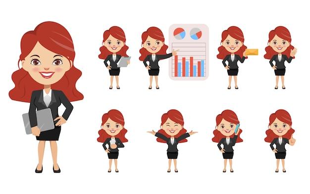 Conjunto de empresária criação chibi personagem pose com emprego de ocupação de terno uniforme.