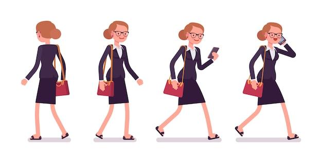 Conjunto de empresária em poses a andar, vista traseira e frontal