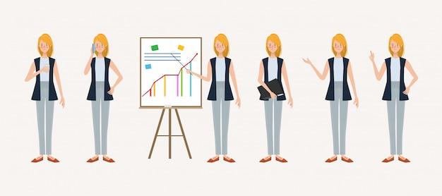 Conjunto de empresária pose no trabalho mão desenhada estilo.