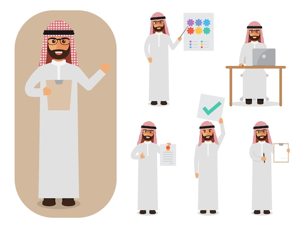 Conjunto de empresário árabe no trabalho.