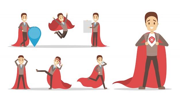 Conjunto de empresário com capa vermelha de super-herói. homem com poder e motivação em diferentes poses. idéia de liderança. ilustração