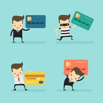 Conjunto de empresário com cartão de crédito