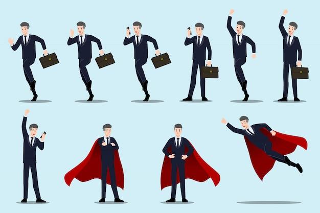 Conjunto de empresário com diferentes poses.
