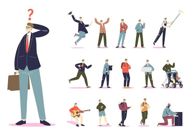 Conjunto de empresário de sucesso usando óculos em poses e situações de estilo de vida diferentes: formando, andando com crianças, pensando, falando no celular. ilustração vetorial plana