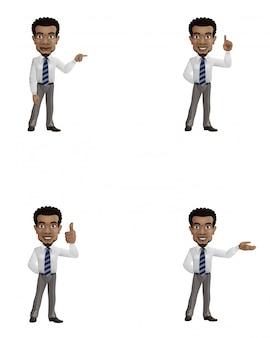 Conjunto de empresário dos desenhos animados com gesto diferente