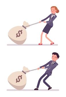 Conjunto de empresário e empresária arrastando um saco de dinheiro gigante na cadeia