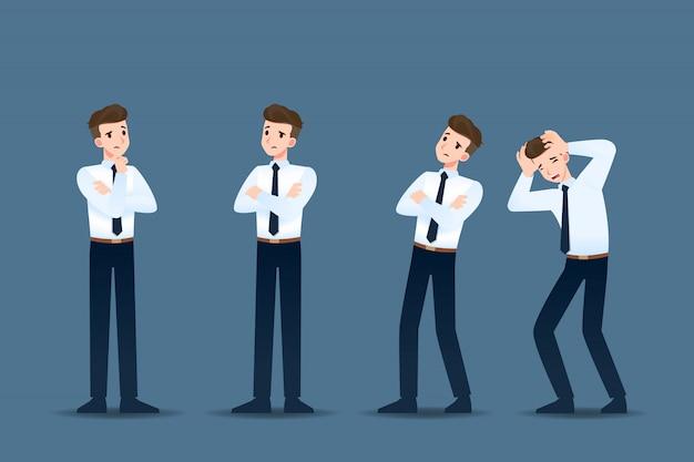 Conjunto de empresário em 4 gestos diferentes.