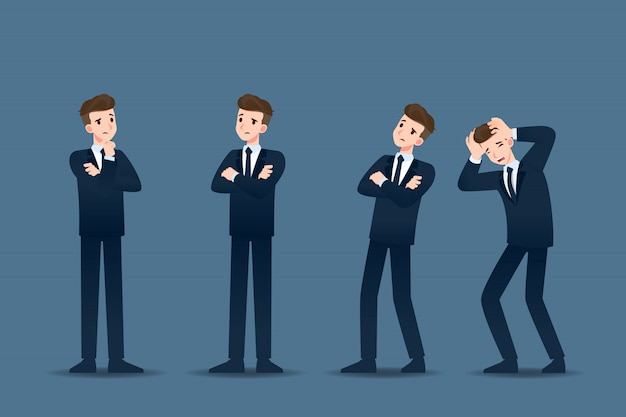 Conjunto de empresário em gestos diferentes.