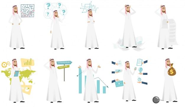 Conjunto de empresário muçulmano