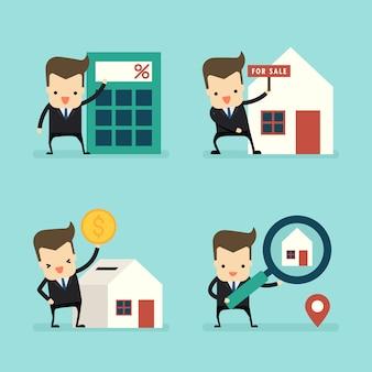Conjunto de empresário no conceito de empréstimos à habitação e venda