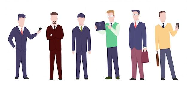 Conjunto de empresário ou gerente em poses diferentes
