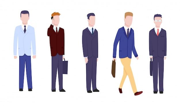 Conjunto de empresário ou gerente em poses diferentes.