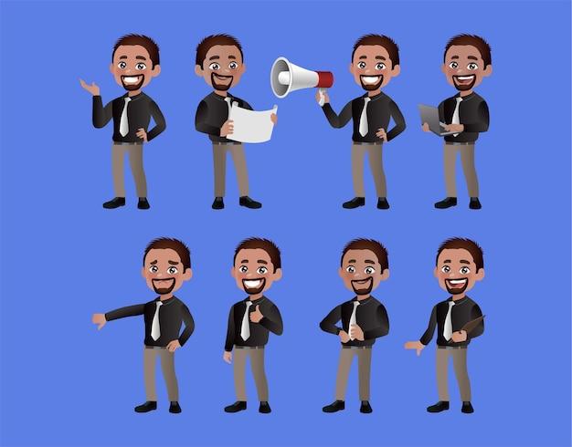 Conjunto de empresários com diferentes poses