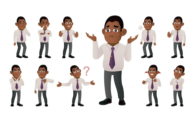 Conjunto de empresários com emoções diferentes