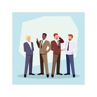 Conjunto de empresários com várias vistas, poses e gestos