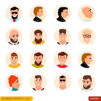 Conjunto de empresários de avatares