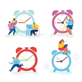 Conjunto de empresários e relógio enorme.