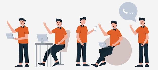 Conjunto de empresários em diferentes ações de personagens de desenhos animados, ilustração isolada