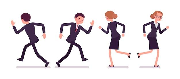 Conjunto de empresários infelizes runnig, traseira e vista frontal