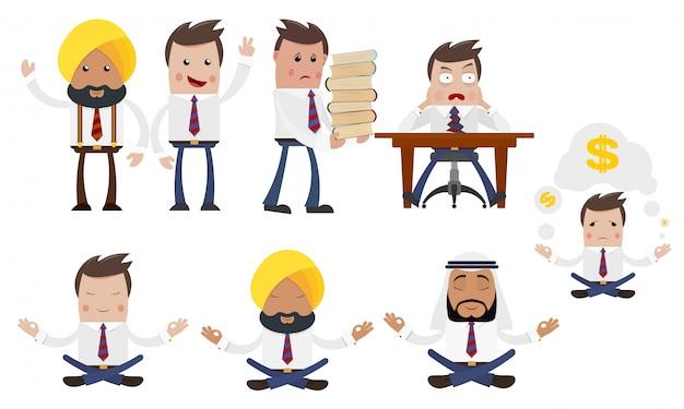 Conjunto de empresários jovens dos desenhos animados em várias poses e com diferentes emoções.
