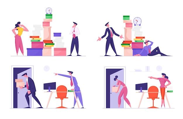 Conjunto de empresários ocupados com trabalho e situação de demissão