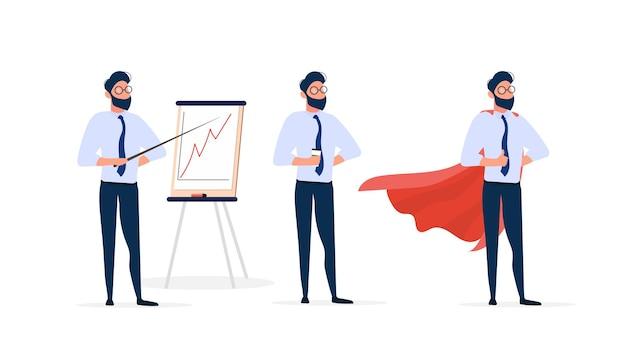 Conjunto de empresários. um homem em um terno de negócios com uma capa vermelha.