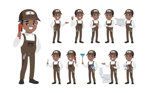 Conjunto de encanador com diferentes poses
