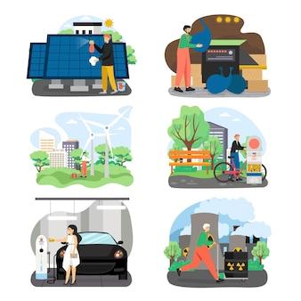 Conjunto de energia ecológica verde