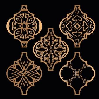Conjunto de enfeites de azulejos de arabesco de natal