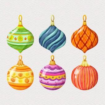 Conjunto de enfeites de bola de natal em aquarela