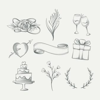 Conjunto de enfeites de casamento de estilo desenhado à mão