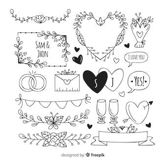 Conjunto de enfeites de casamento decorativo mão desenhada