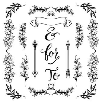 Conjunto de enfeites de casamento desenhado à mão