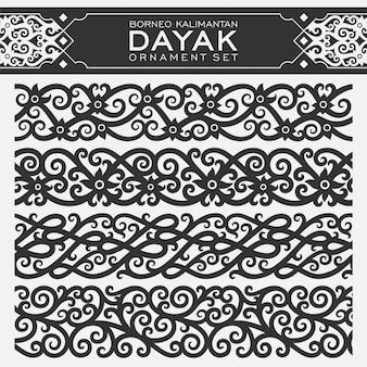 Conjunto de enfeites de dayak borneo kalimantan