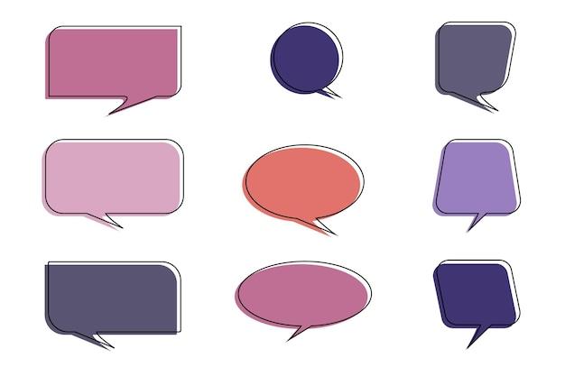 Conjunto de enfeites de fala isolado no branco