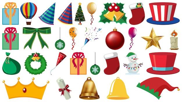 Conjunto de enfeites de festa e outras decorações em branco