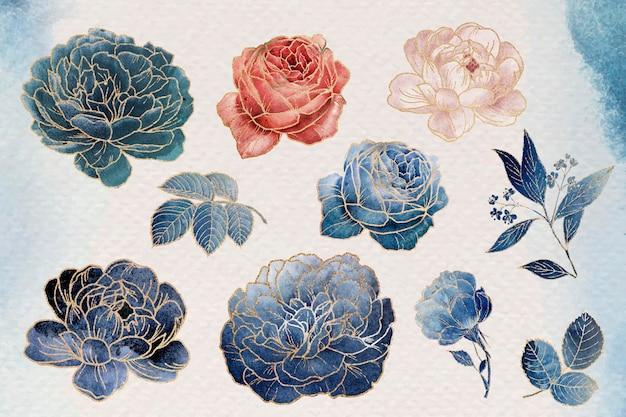 Conjunto de enfeites de flores douradas