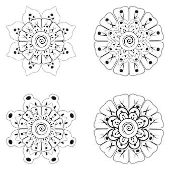 Conjunto de enfeites de flores mehndi na página de livro para colorir de estilo oriental étnico