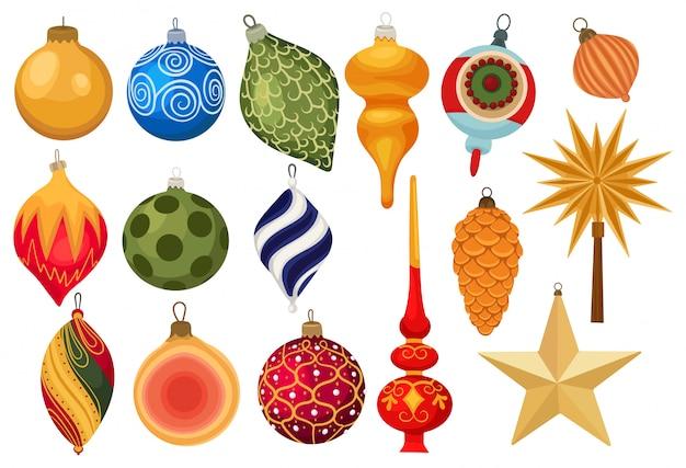 Conjunto de enfeites de natal. coleção de brinquedos coloridos da árvore de natal.