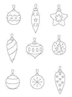 Conjunto de enfeites de natal em preto e branco. página para colorir para crianças. Vetor Premium