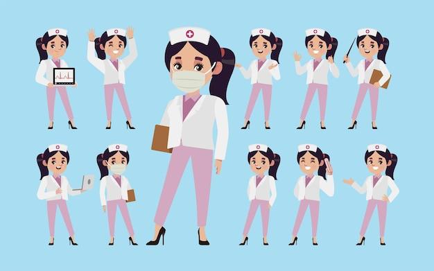 Conjunto de enfermeira com diferentes poses