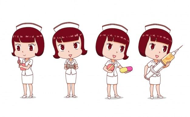 Conjunto de enfermeira dos desenhos animados em poses diferentes.