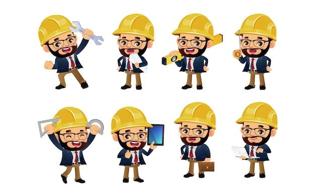 Conjunto de engenheiros com diferentes poses