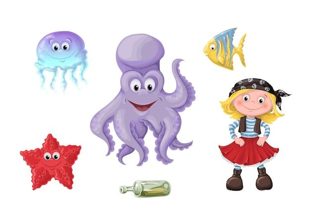 Conjunto de engraçado dos desenhos animados filhos fofos de piratas