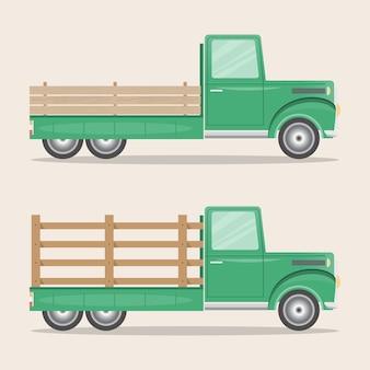 Conjunto de entrega de caminhonete retrô velho dentro de fazenda