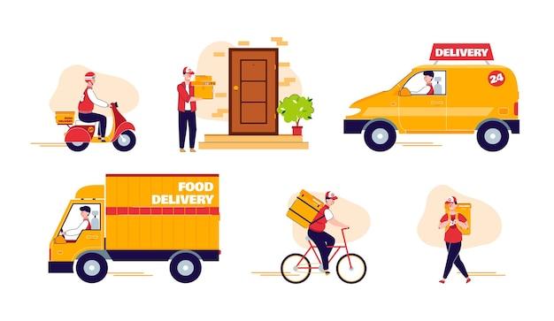 Conjunto de entrega e envio com ilustração plana de veículos