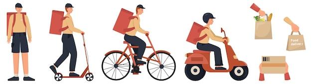 Conjunto de entregador. correio de uniforme com transporte, mochila