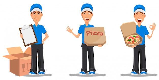 Conjunto de entregador sorridente em uniforme azul